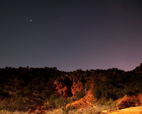 Palo Duro Canyon at night 1 minute exposure.